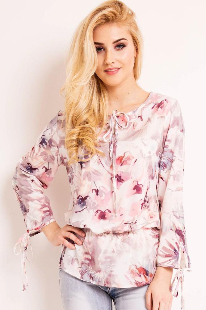 CM3338 Nowoczesna bluzka z rękawem typu boho - różowa