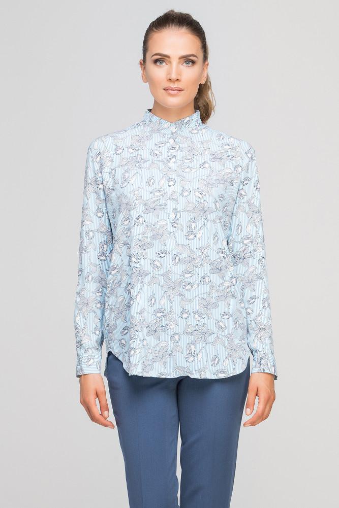 CM3349 Kobieca koszula ze stójką - błękitna