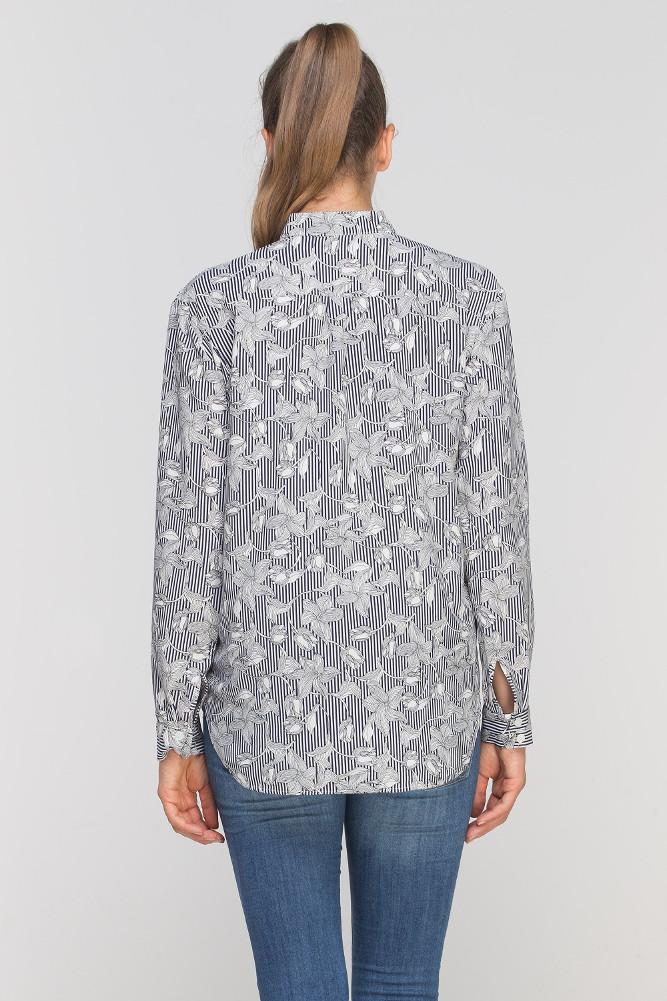 CM3349 Kobieca koszula ze stójką - szara