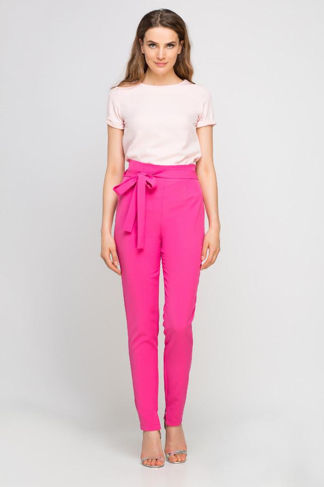 CM3352 Eleganckie spodnie z szarfą - fuksja