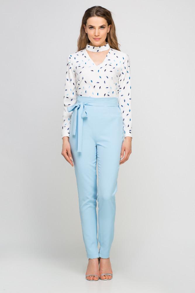 CM3352 Eleganckie spodnie z szarfą - błękitne