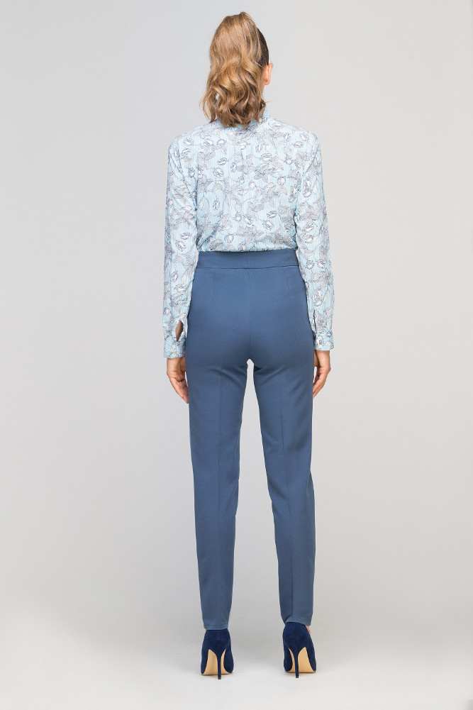 CM3353 Eleganckie spodnie w kant - niebieskie
