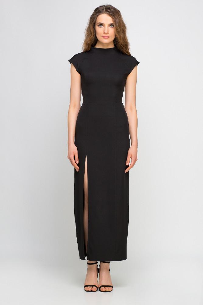 CM3356 Dopasowana sukienka maxi z rozcięciem - czarna