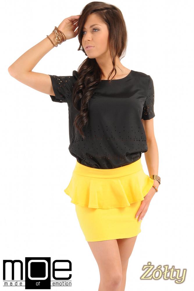 CM0222 Mini spódniczka z baskinką - żółta