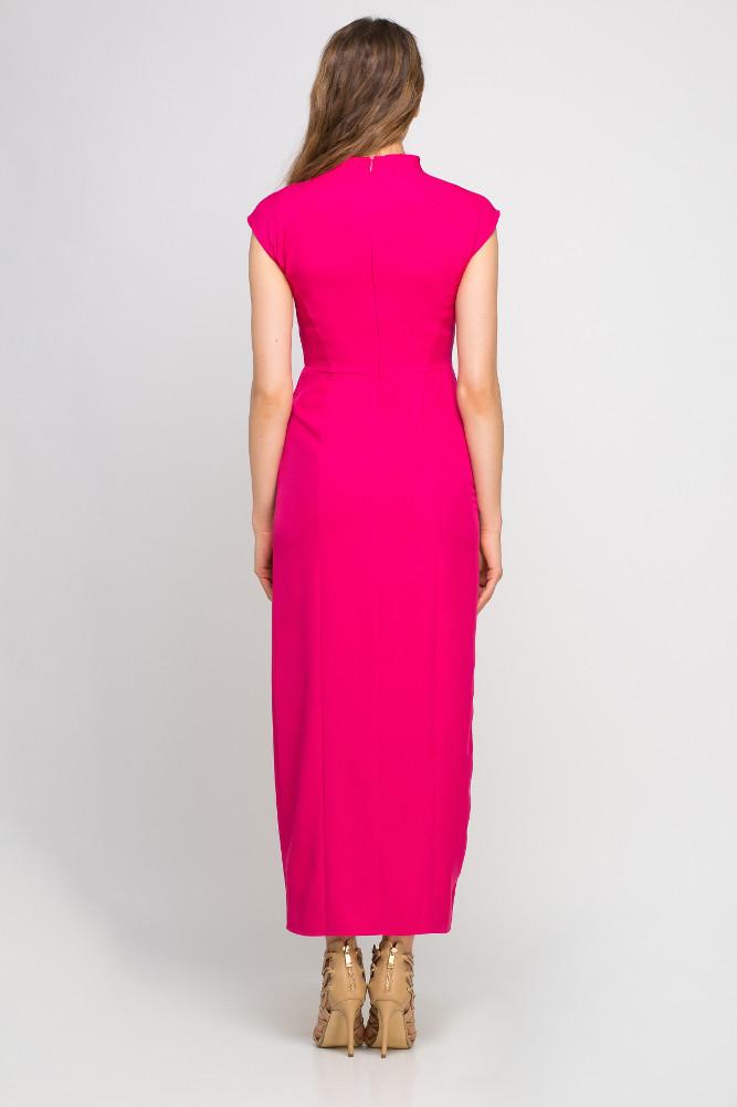 CM3356 Dopasowana sukienka maxi z rozcięciem - fuksja