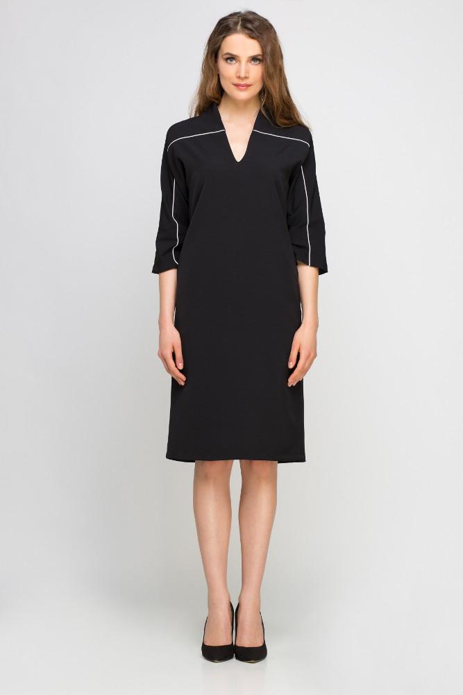 CM3357 Dzianinowa sukienka z lamówką - czarna