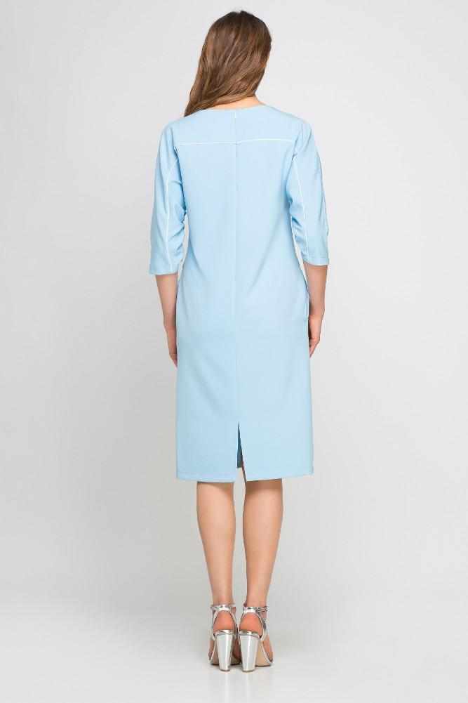 CM3357 Dzianinowa sukienka z lamówką - błękitna