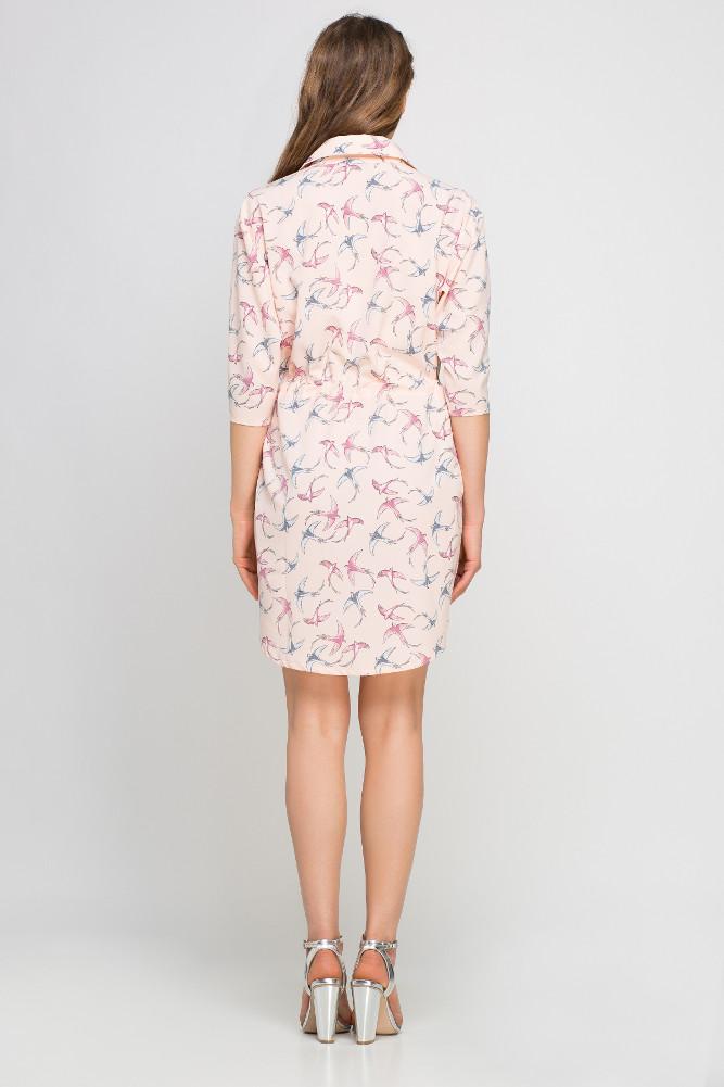 CM3358 Koszulowa sukienka szmizjerka - różowa