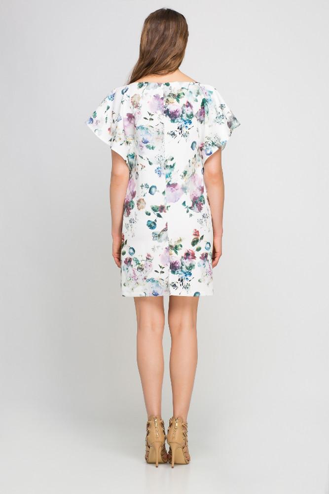 CM3361 Luźna sukienka w kwiaty z falbanami