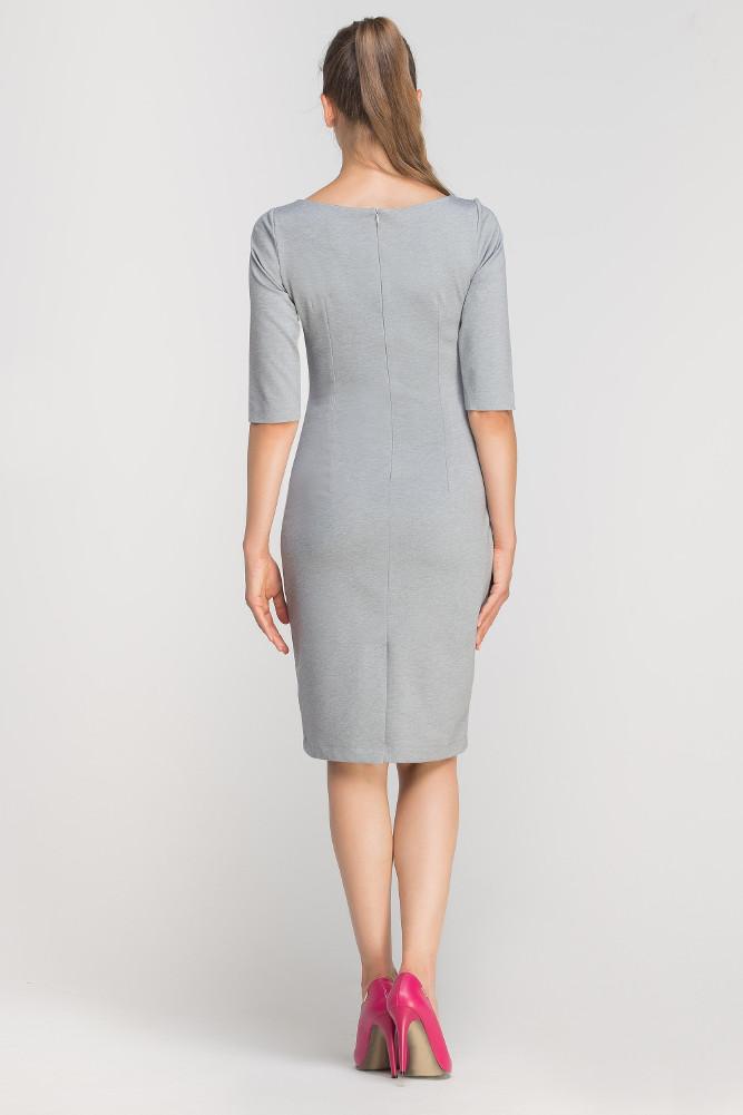 CM3362 Dopasowana sukienka z przeszyciami - szara
