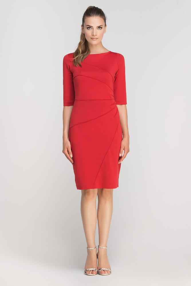 CM3362 Dopasowana sukienka z przeszyciami - czerwona