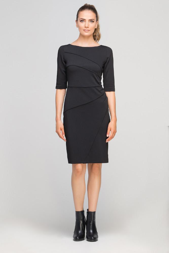 CM3362 Dopasowana sukienka z przeszyciami - czarna