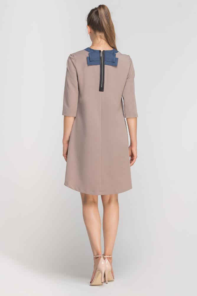 CM3364 Asymetryczna sukienka mini - beżowa