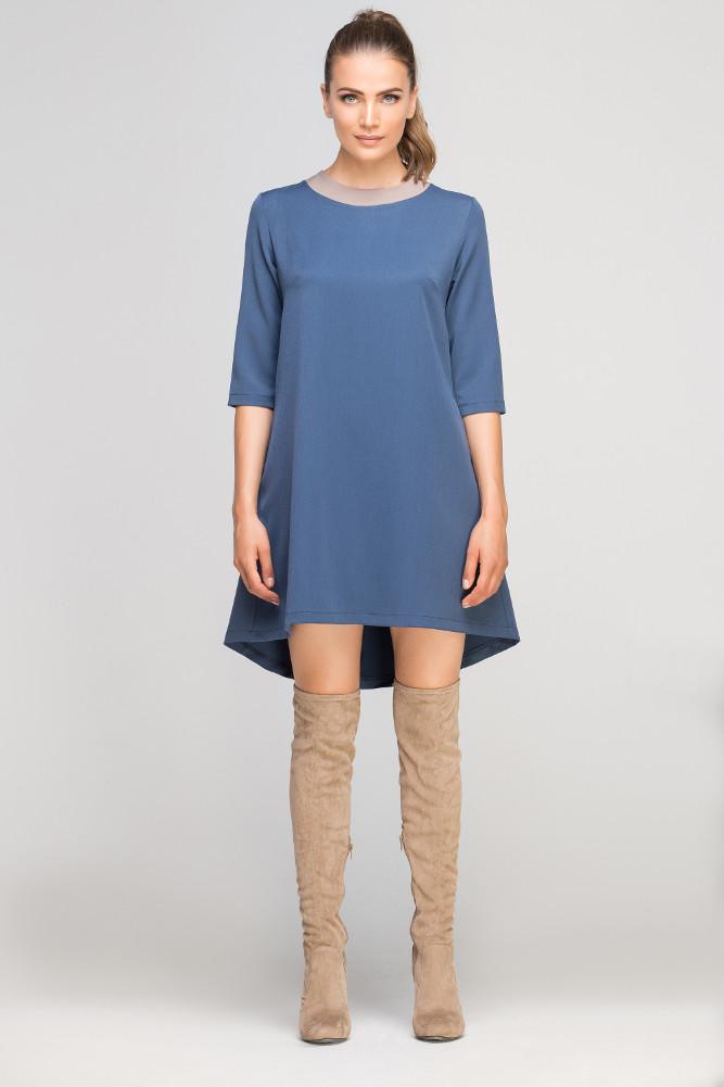 CM3364 Asymetryczna sukienka mini - niebieska