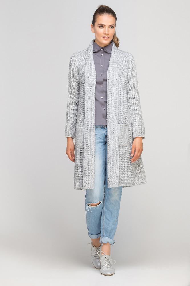 CM3366 Miękki dzianinowy płaszcz - szary