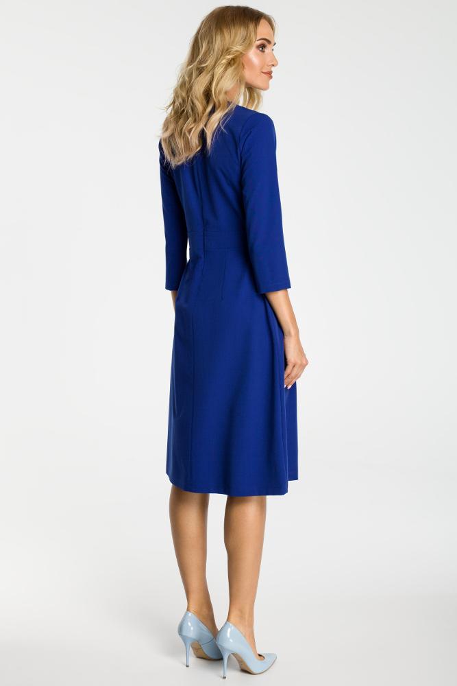 CM3300 Sukienka z kontrafałdami na przodzie - chabrowa