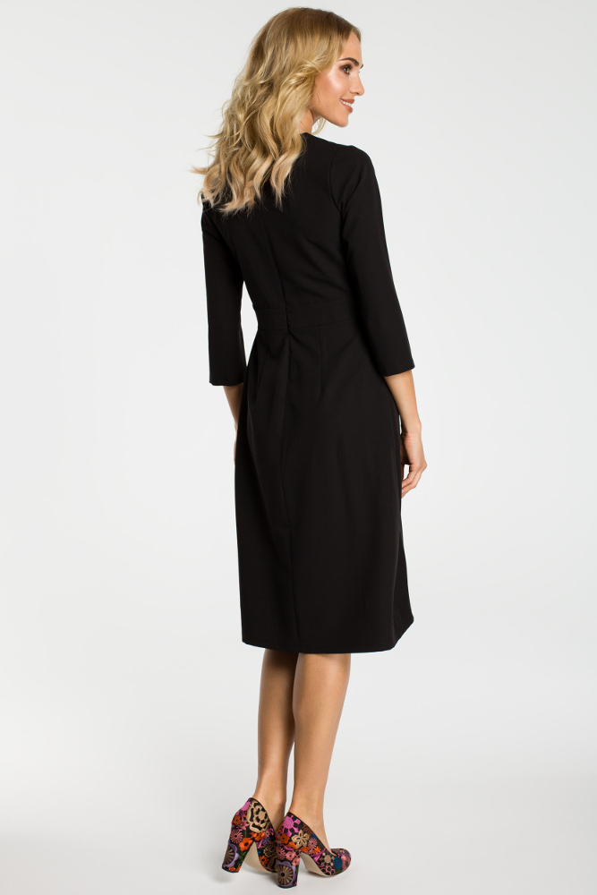 CM3300 Sukienka z kontrafałdami na przodzie - czarna