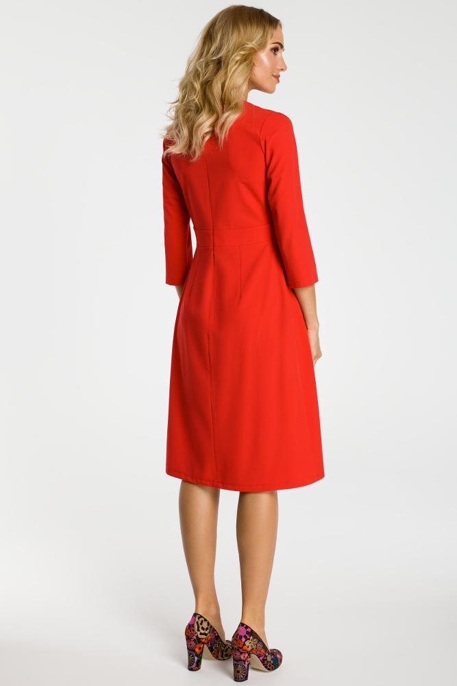 CM3300 Sukienka z kontrafałdami na przodzie - czerwona