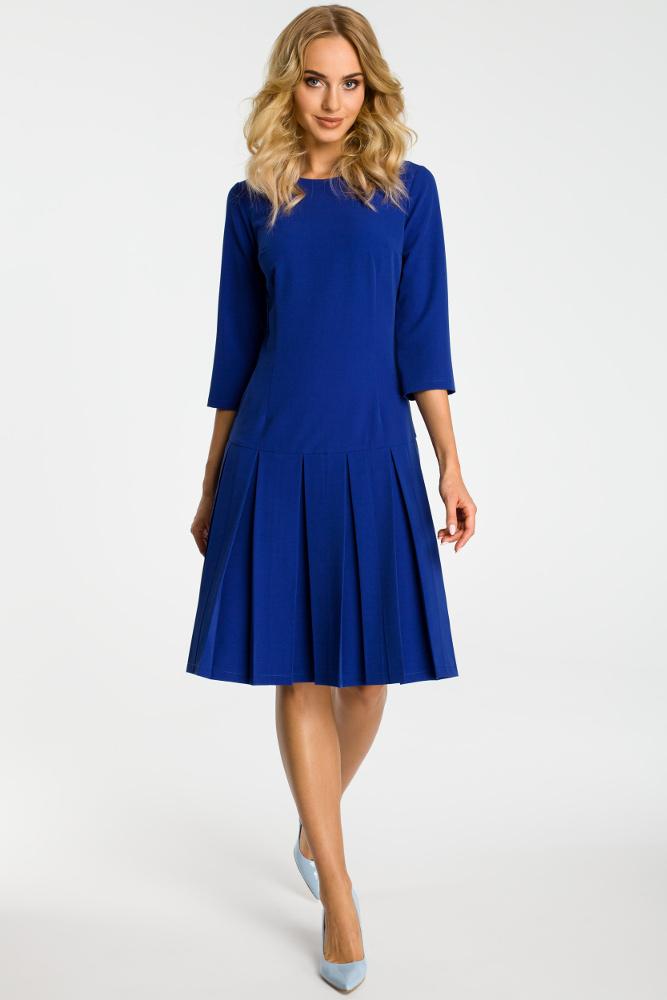CM3301 Sukienka z obniżoną talią i kontrafałdami - chabrowa