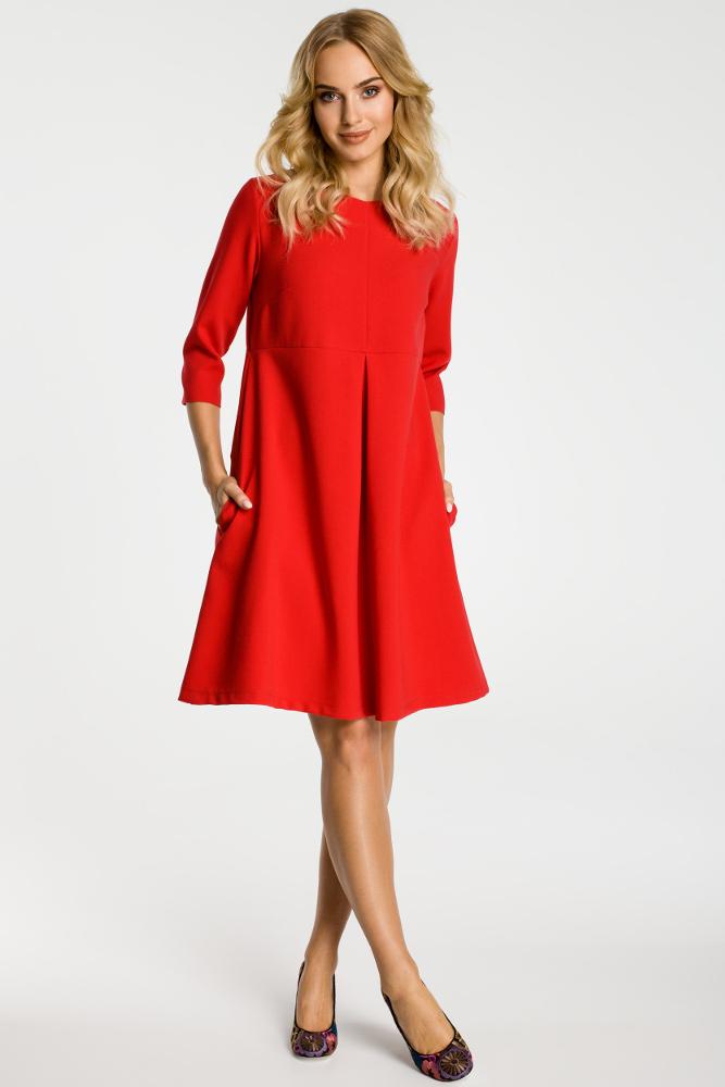 CM3303 Sukienka z kontrafałdą pod biustem - czerwona