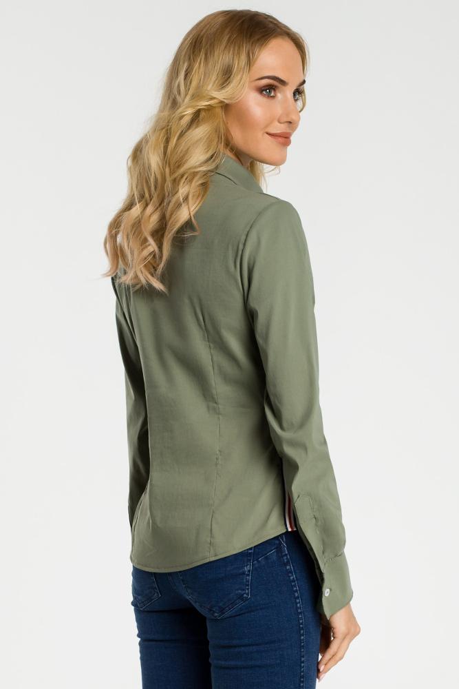 CM3305 Tradycyjna koszula z ozdobną tasiemką - khaki