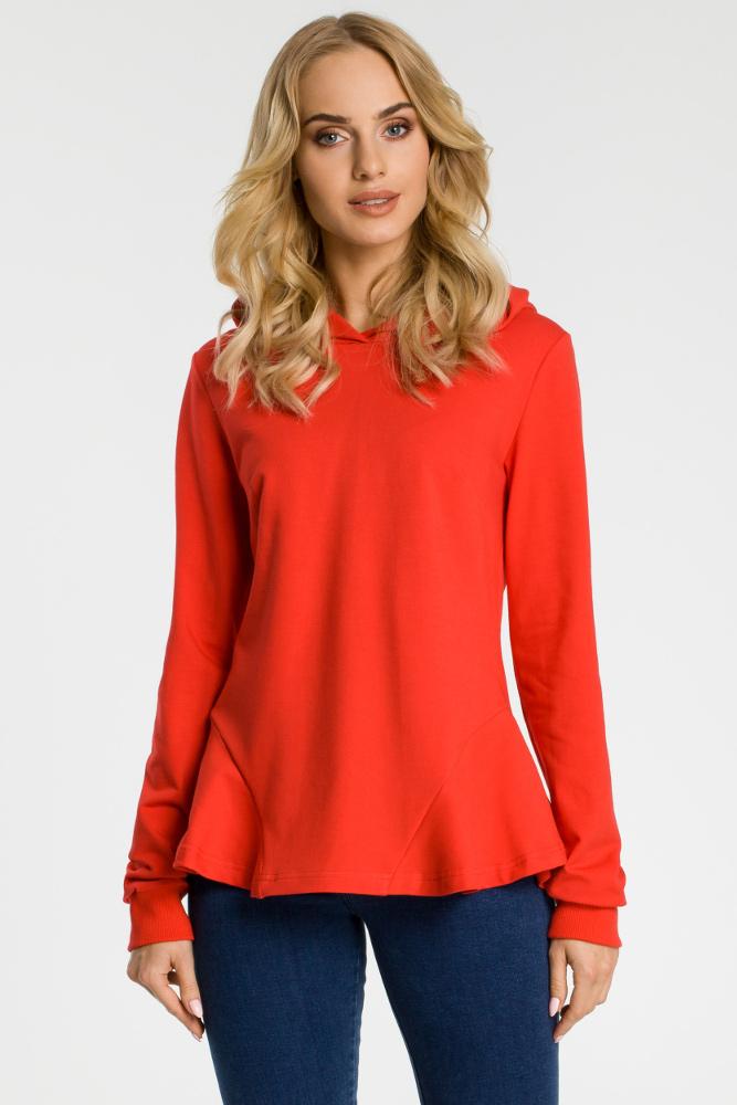 CM3310 Bluza z kapturem i falbankami - czerwona