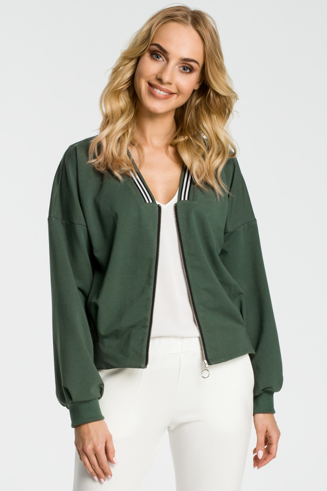CM3312 Zasuwana bluza z szerokimi rękawami - militarno zielona