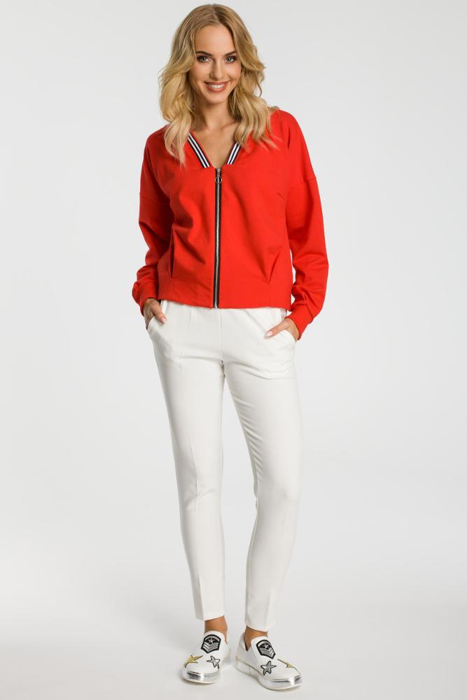 CM3312 Zasuwana bluza z szerokimi rękawami - czerwona