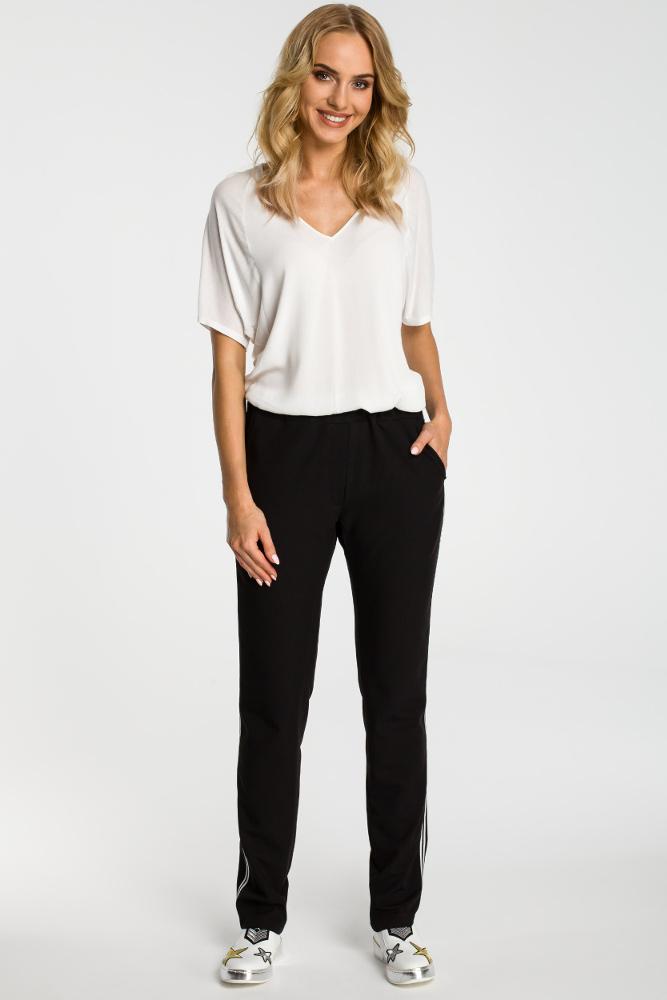 CM3316 Damskie spodnie z lampasem - czarne