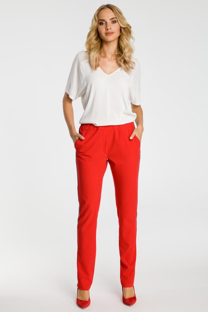 CM3316 Damskie spodnie z lampasem - czerwone