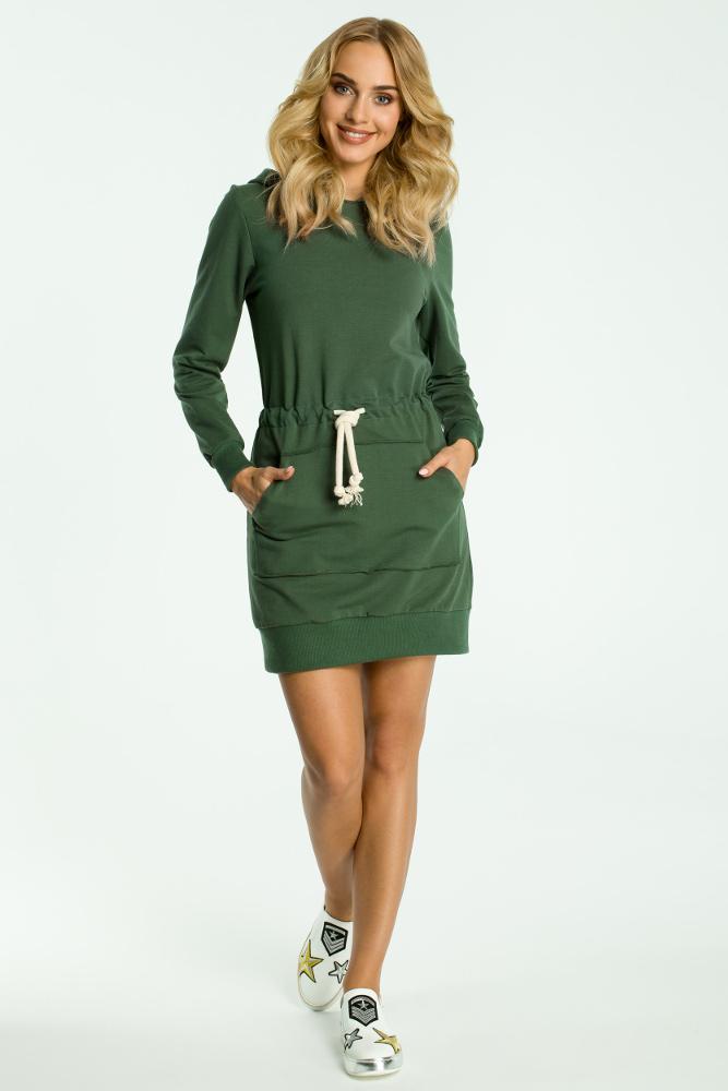 CM3317 Sukienka typu kangurek - militarno zielona