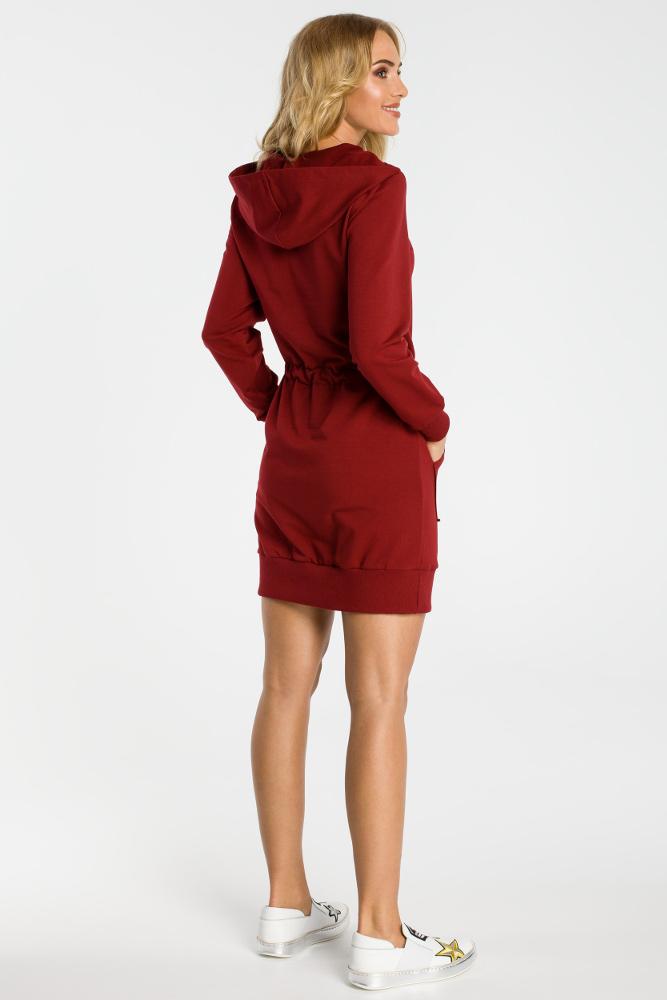 CM3317 Sukienka typu kangurek - bordowa