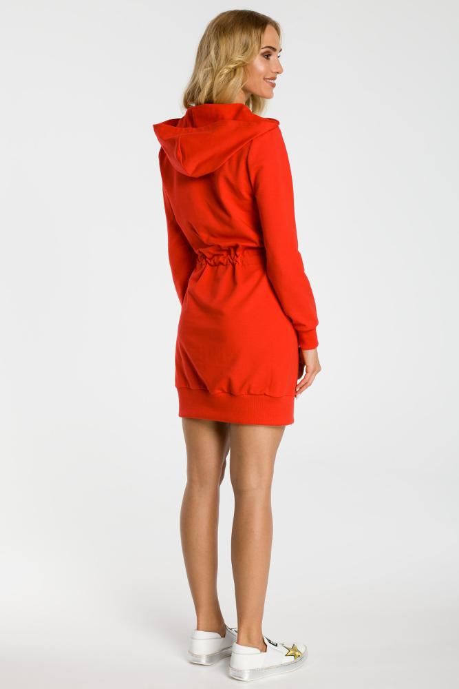 CM3317 Sukienka typu kangurek - czerwona
