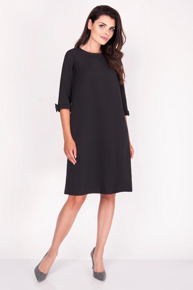 CM3369 Trapezowa sukienka z kokardkami - czarna