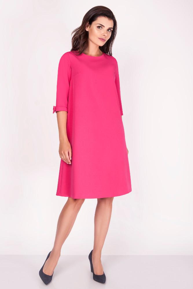 CM3369 Trapezowa sukienka z kokardkami - różowa