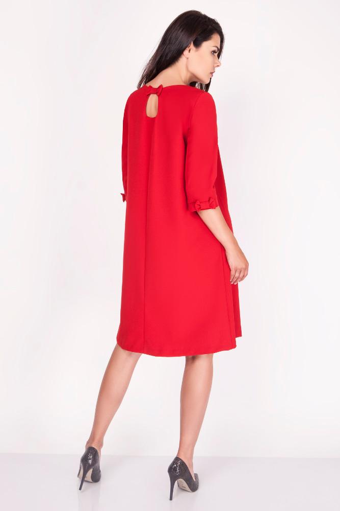 CM3369 Trapezowa sukienka z kokardkami - czerwona
