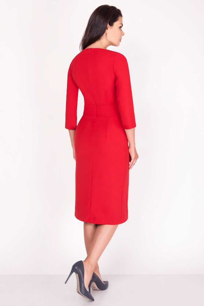 CM3371 Elegancka ołówkowa sukienka midi - czerwona