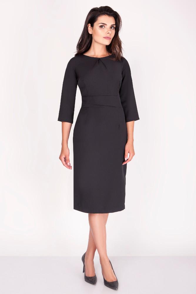 CM3371 Elegancka ołówkowa sukienka midi - czarna