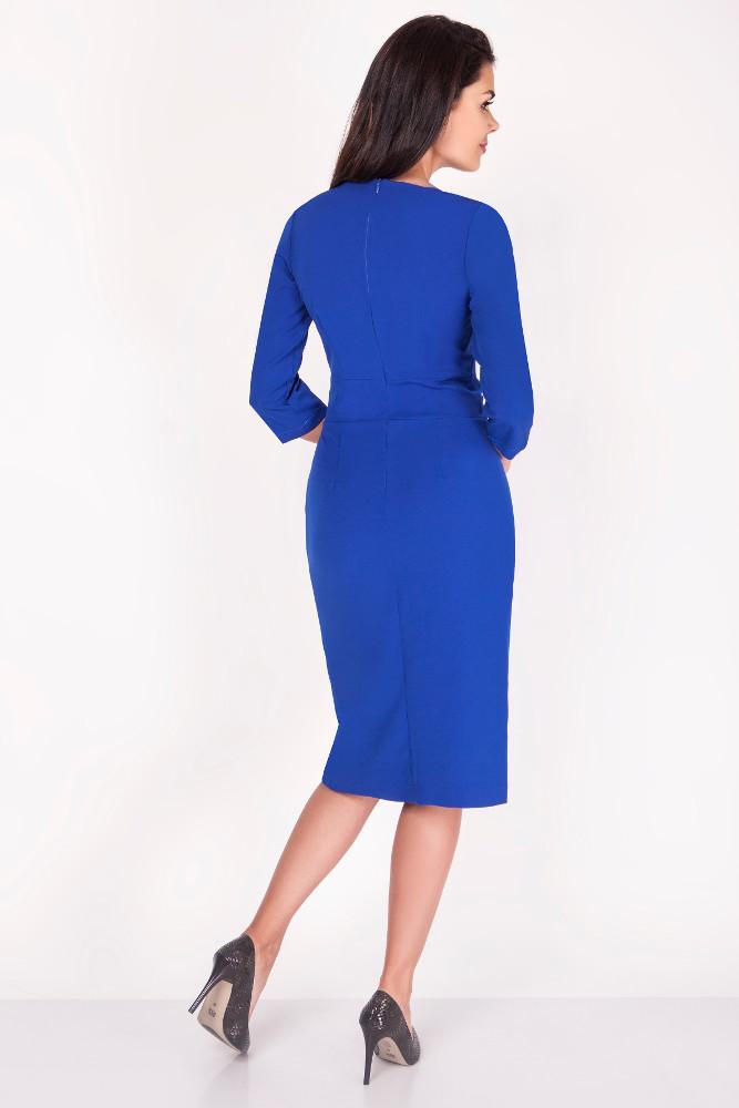 CM3371 Elegancka ołówkowa sukienka midi - chabrowa