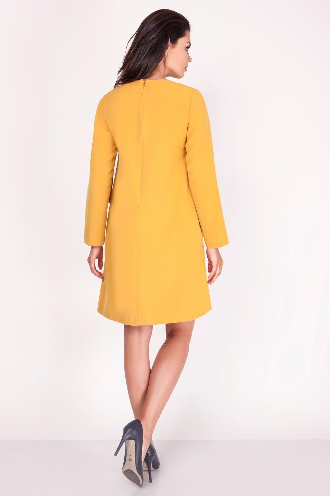 CM3372 Wygodna rozkloszowana sukienka - żółta