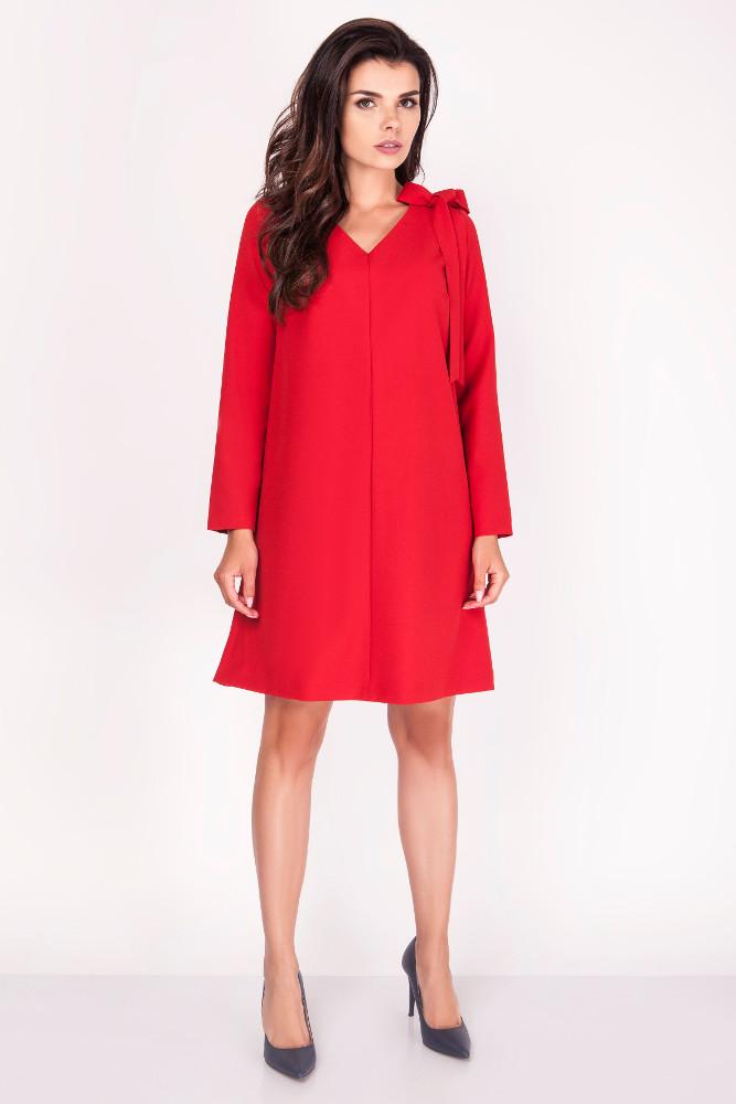 CM3372 Wygodna rozkloszowana sukienka - czerwona