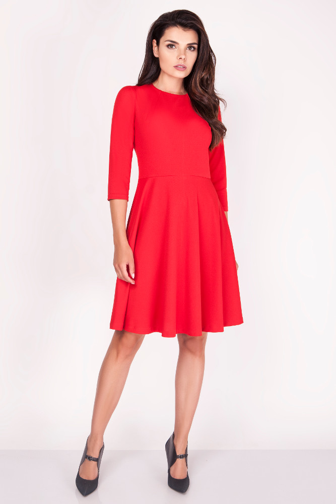 CM3373 Biurowa rozkloszowana sukienka midi - czerwona