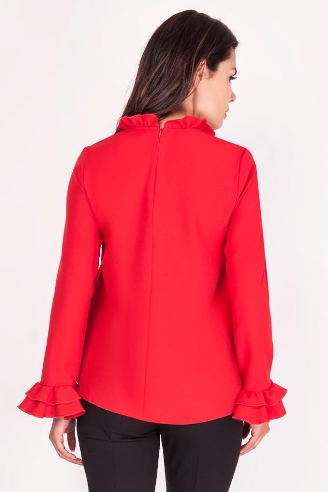 CM3381 Prosta bluzka z falbankami przy rękawach - czerwona
