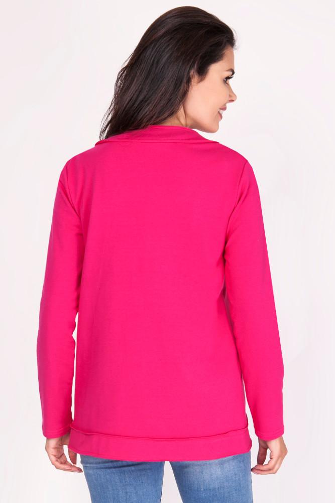 CM3383 Lekka niezapinana bawełniana narzutka - ciemny różowy