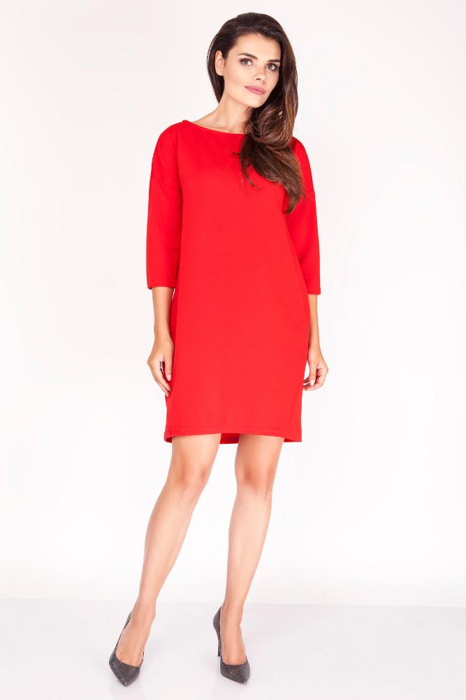 CM3393 Klasyczna prosta sukienka mini - czerwona