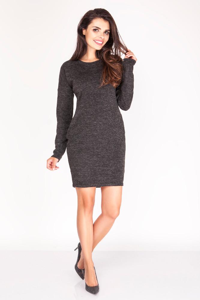 CM3396 Dzianinowa sukienka mini z kieszeniami - czarna