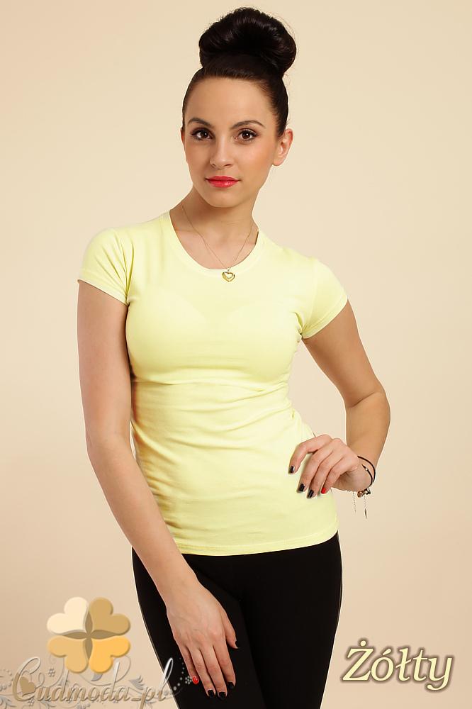 CM0012 Gładka bluzka z krótkim rękawem - żółta