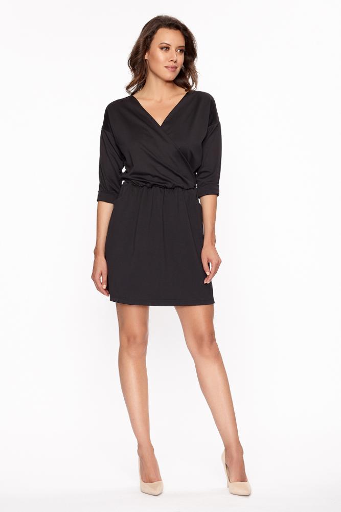 CM3406 Sukienka mini z zakładką i kieszeniami - czarna