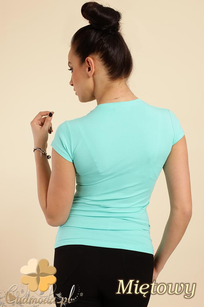 CM0012 Gładka bluzka z krótkim rękawem - miętowa