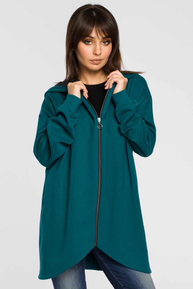 CM3437 Długa zasuwana bluza z kapturem - zielona